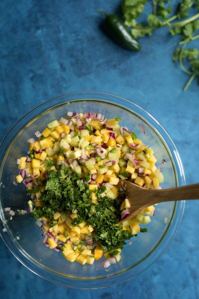 A photo of the ingredients for mango salsa about to be combined in a mixing bowl.
