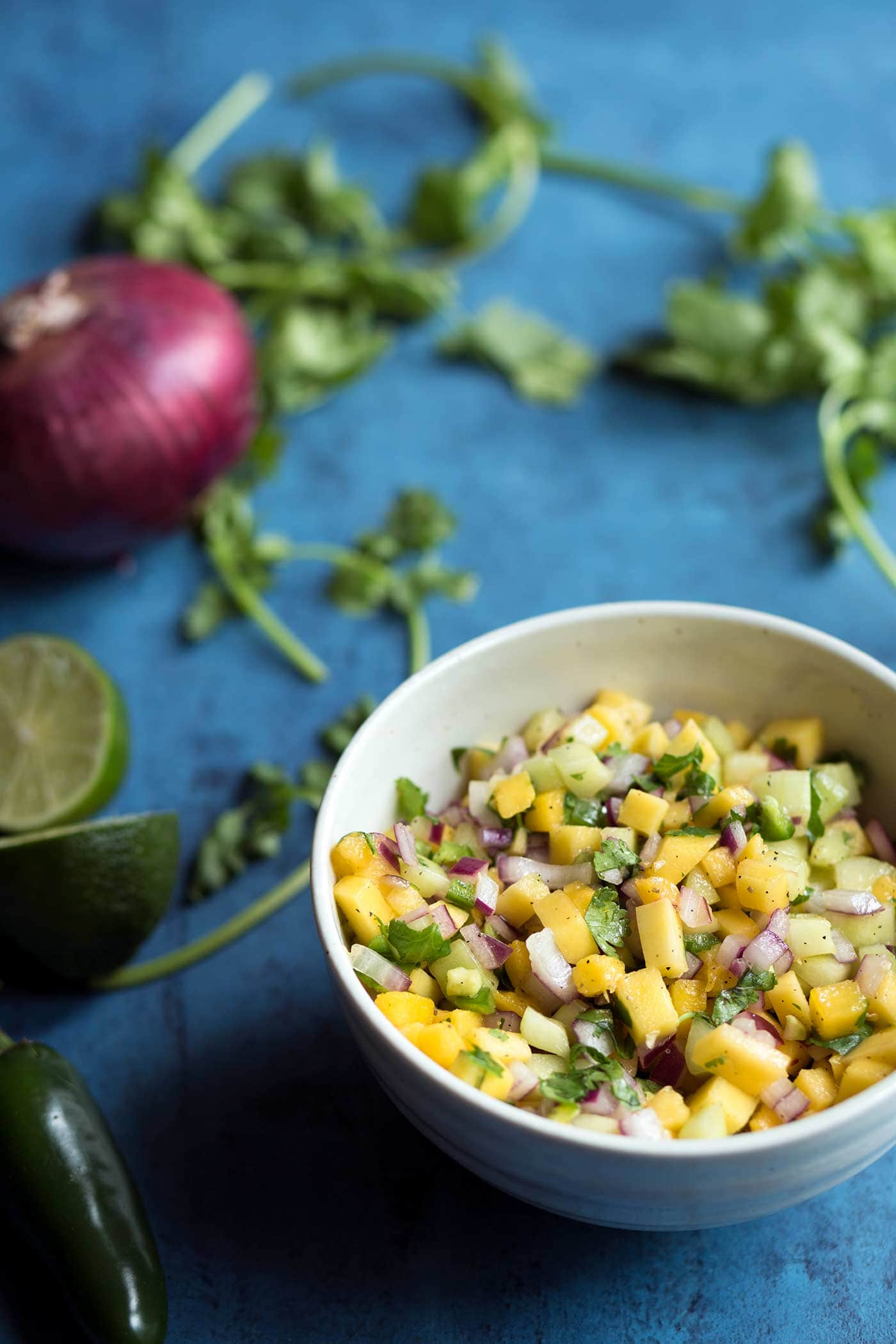 This mango salsa is fantastic serving with tortilla chips, but I also love using it as a topping for fish and chicken!