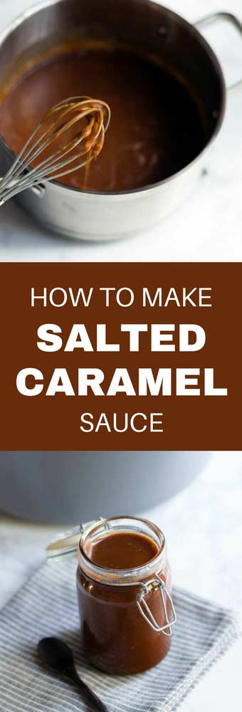 Salted Caramel Sauce is so easy to make at home! You can use it in a wide variety of desserts or as a topping drizzled over ice cream!