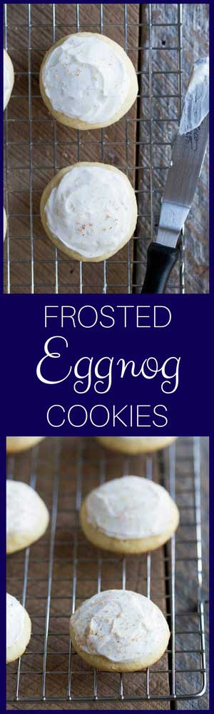 Try this frosted eggnog cookie recipe at your next holiday cookie swap! Eggnog cookie icing and freshly grated nutmeg create a perfect balance of flavor.