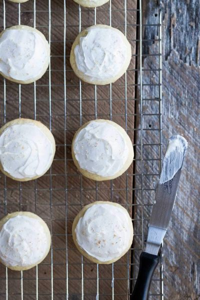 This frosted eggnog cookie recipe is perfect for holiday parties, with a delicate icing that isn't overly sweet.