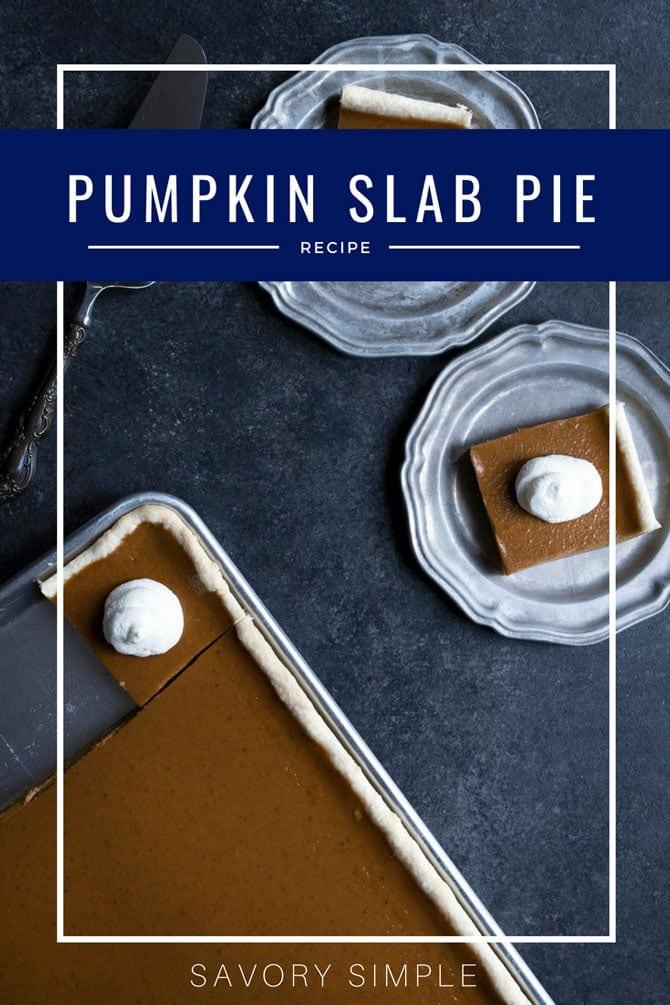 Pumpkin slab pie with text overlay.
