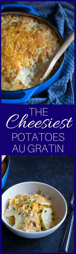 This Cheesy Potatoes Au Gratin recipe is perfect for celebrating the holidays with family!