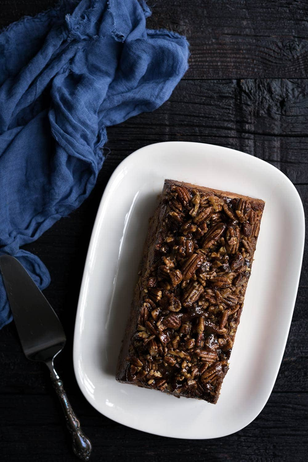 Pecan Pie Baked French Toast bake on a serving platter