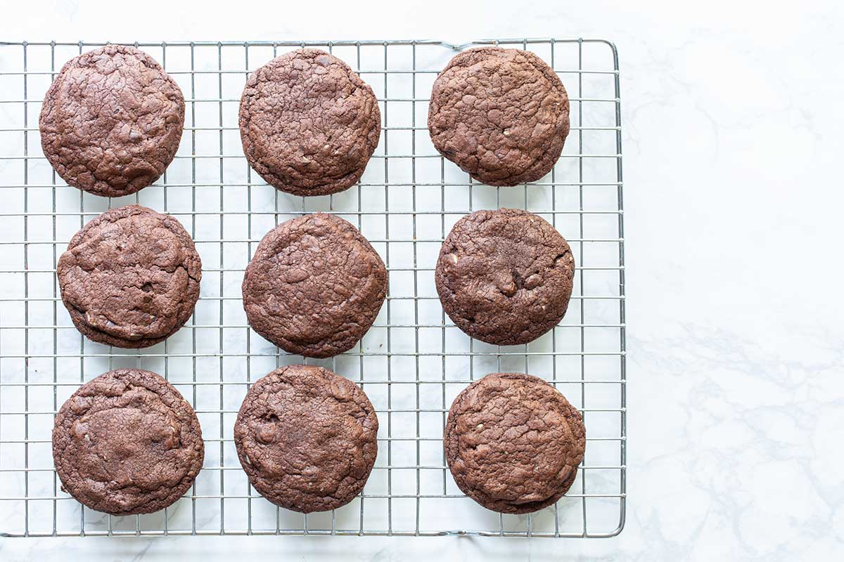 Chocolate Peppermint Cookies on a cooling rack