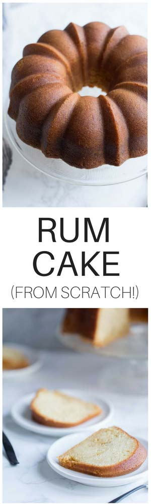 This Rum Cake Recipe is made completely using from scratch ingredients (no mixes!) and is then SOAKED in a dark rum butter syrup that keeps it incredibly moist and bursting with rum flavor.