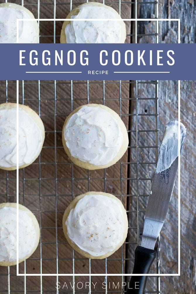 Try this frosted eggnog cookie recipe at your next holiday cookie swap! Eggnog cookie icing and freshly grated nutmeg create a perfect balance of flavor. #eggnog #cookies #holidaycookies #SavorySimple
