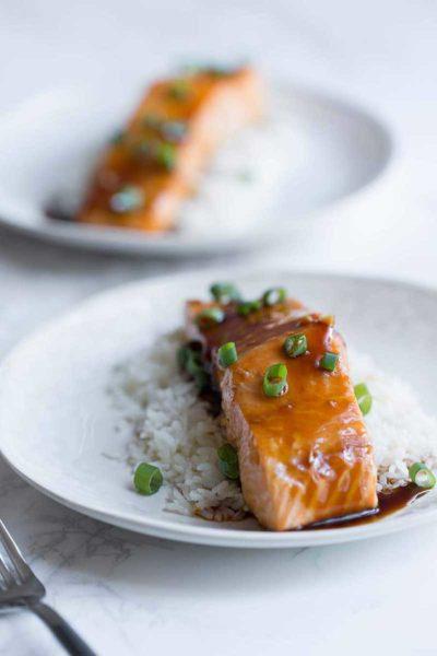 A photo of salmon teriyaki, made with homemade teriyaki sauce.