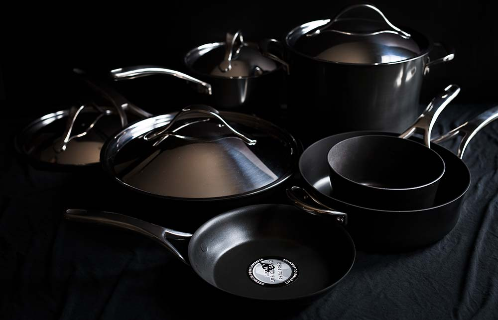 A photo of the new Anolon Nouvelle Copper Hard-Anodized 11-Piece Cookware Set at Williams Sonoma.