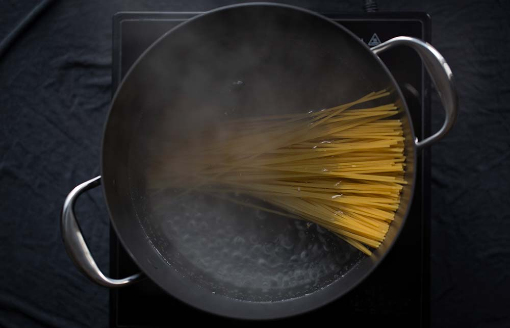 Water boiling for pasta.