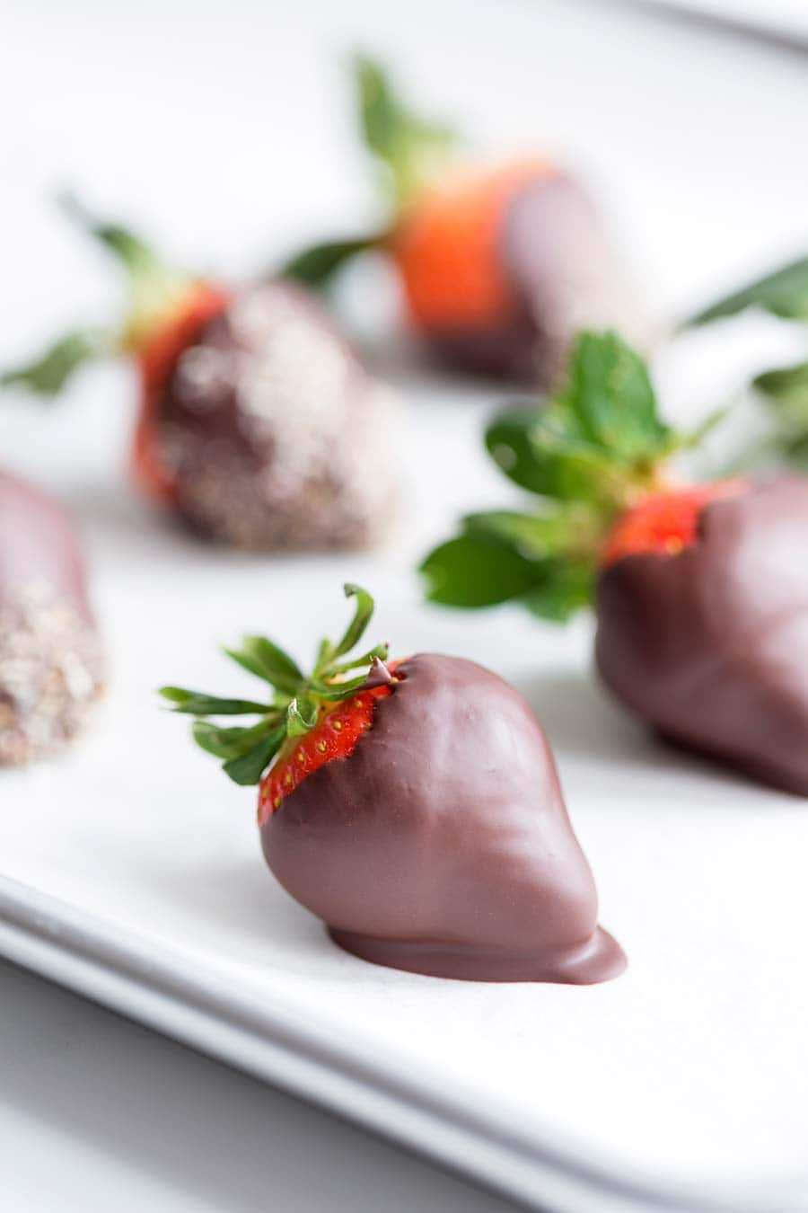 A photo of chocolate dipped strawberries