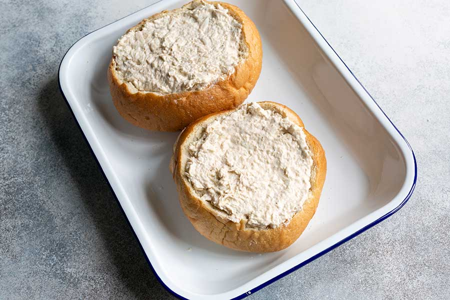 Crab dip pressed into sourdough bread