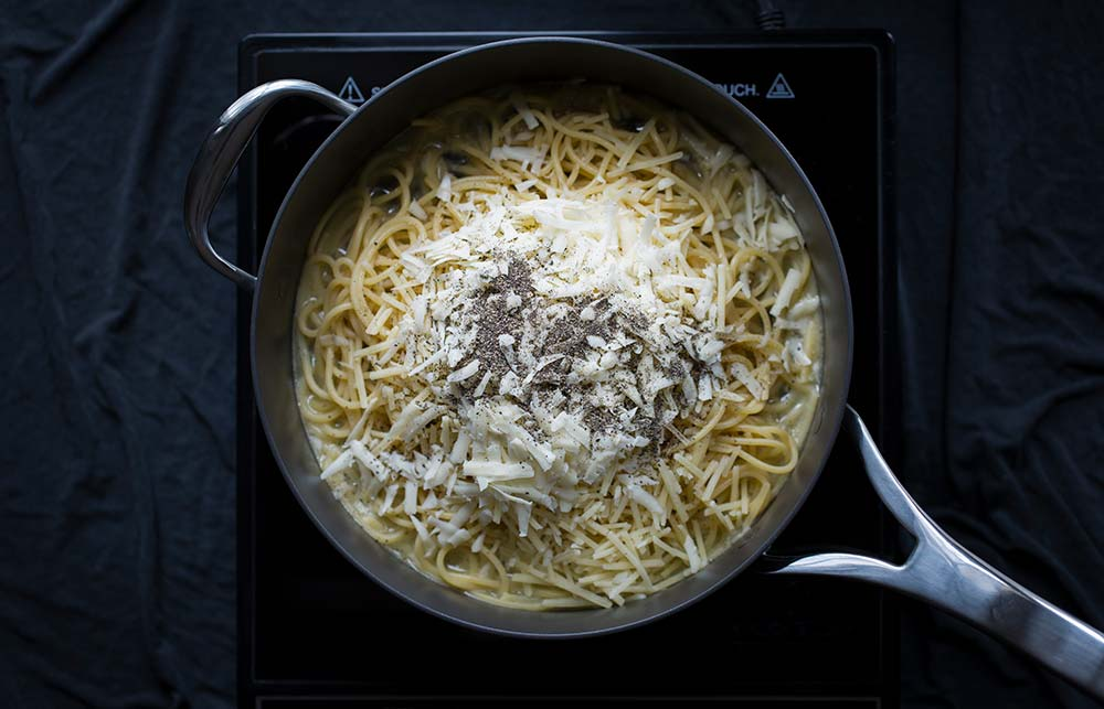 Ingredients for Cacio e Pepe Pasta in a French Skillet.