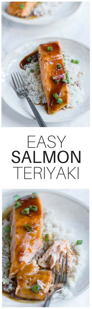 This easy teriyaki salmon is a healthy meal that comes together quickly. The homemade teriyaki sauce has only a few ingredients. Everyone will love this!