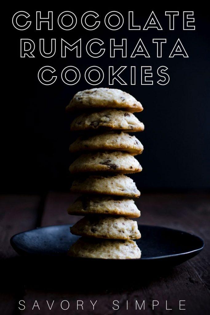 Chocolate rumchata cookies with text overlay.