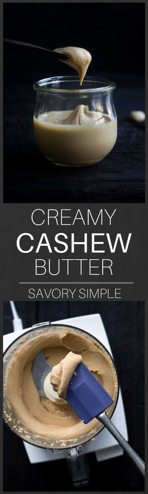 Learn how to make this easy, all-natural, creamy cashew butter recipe with step-by-step photos! There are no unnecessary ingredients- just cashews and a bit of salt. It's vegan, healthy, and it comes together in no time.