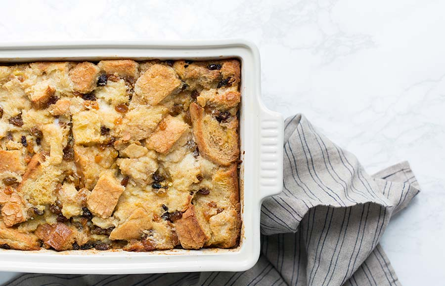 An overhead photo of bread pudding.