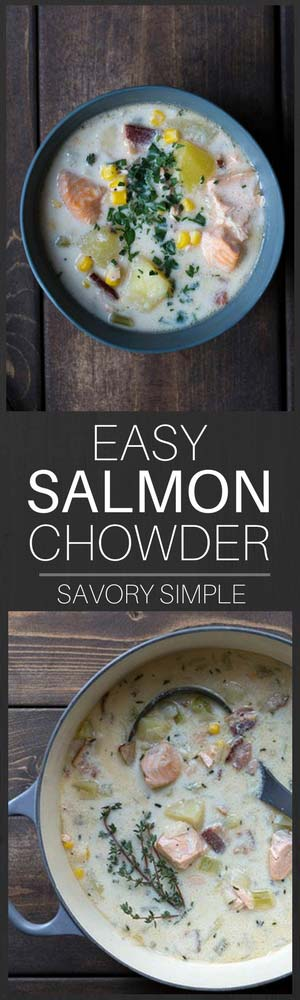 This creamy one-pot Salmon Chowder recipe is as good as anything served in a restaurant, yet it's incredibly easy to prepare at home! The fresh chives and bacon add tons of flavor. #salmon #chowder #recipe #seafoodchowder #savorysimple
