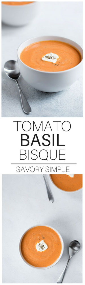 You NEED to try this thick, creamy Tomato Basil Soup with a slice of fresh crusty bread! If you love the tomato basil bisque from Nordstrom or Safeway, you will love this homemade version!