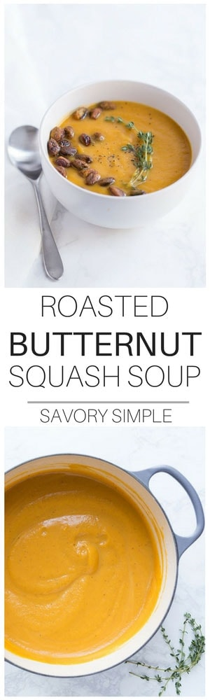 This rich, creamy Roasted Butternut Squash Soup takes things to the next level with a quick and easy Spiced Pistachio garnish! The nuts are optional, but they add tons of texture and flavor.