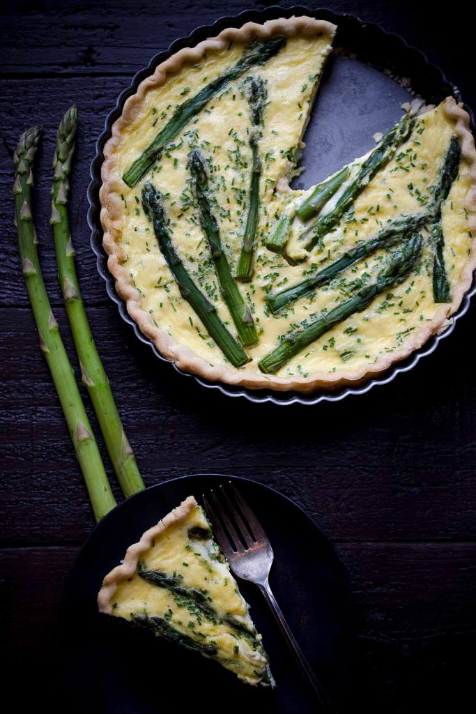 A photo of Asparagus, Goat Cheese and Chive Quiche