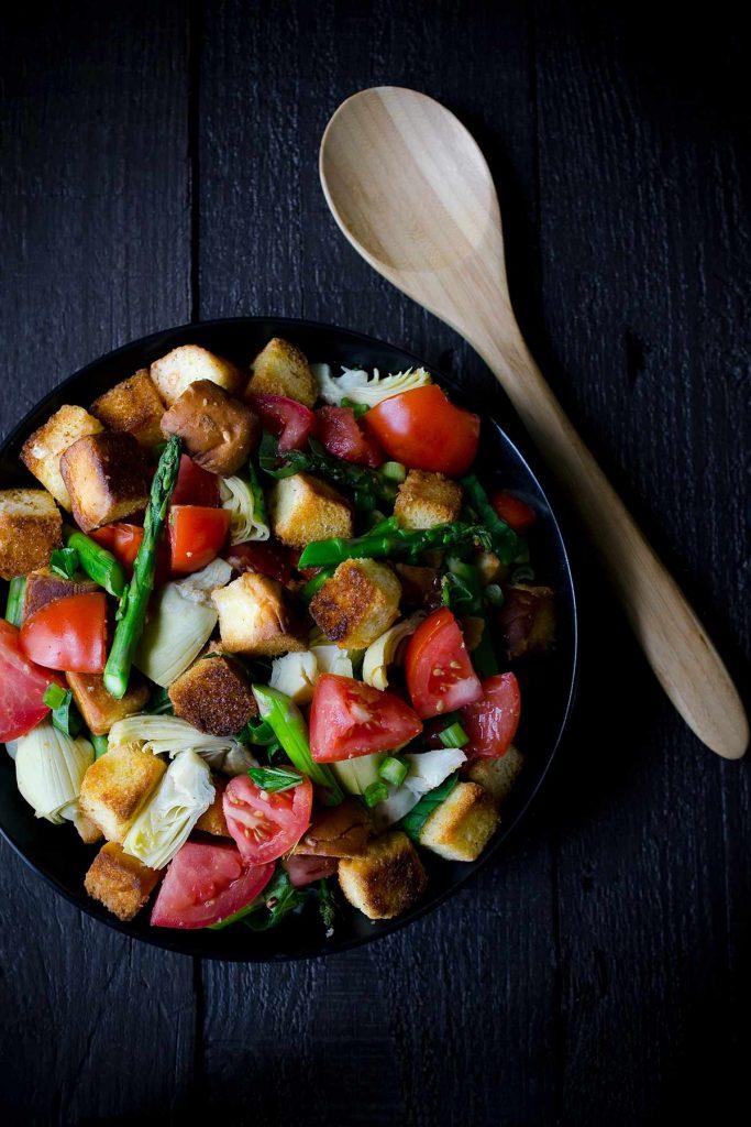 A photo of panzanella salad