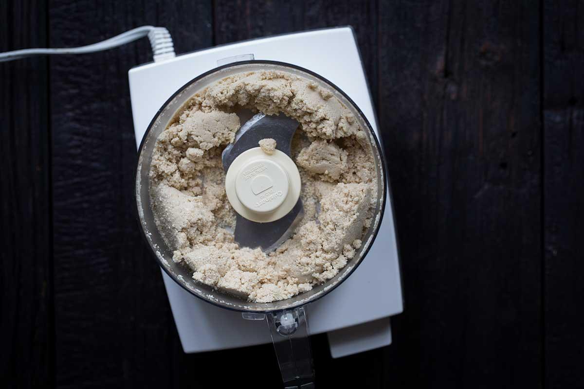 Tahini paste, mid process in a food processor