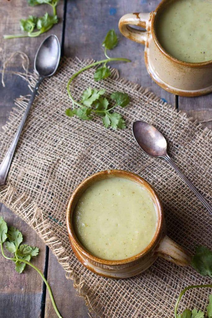 A photo of Chilled Tomatillo Avocado Soup