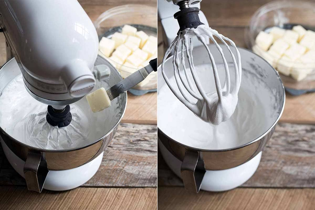 Adding butter to buttercream
