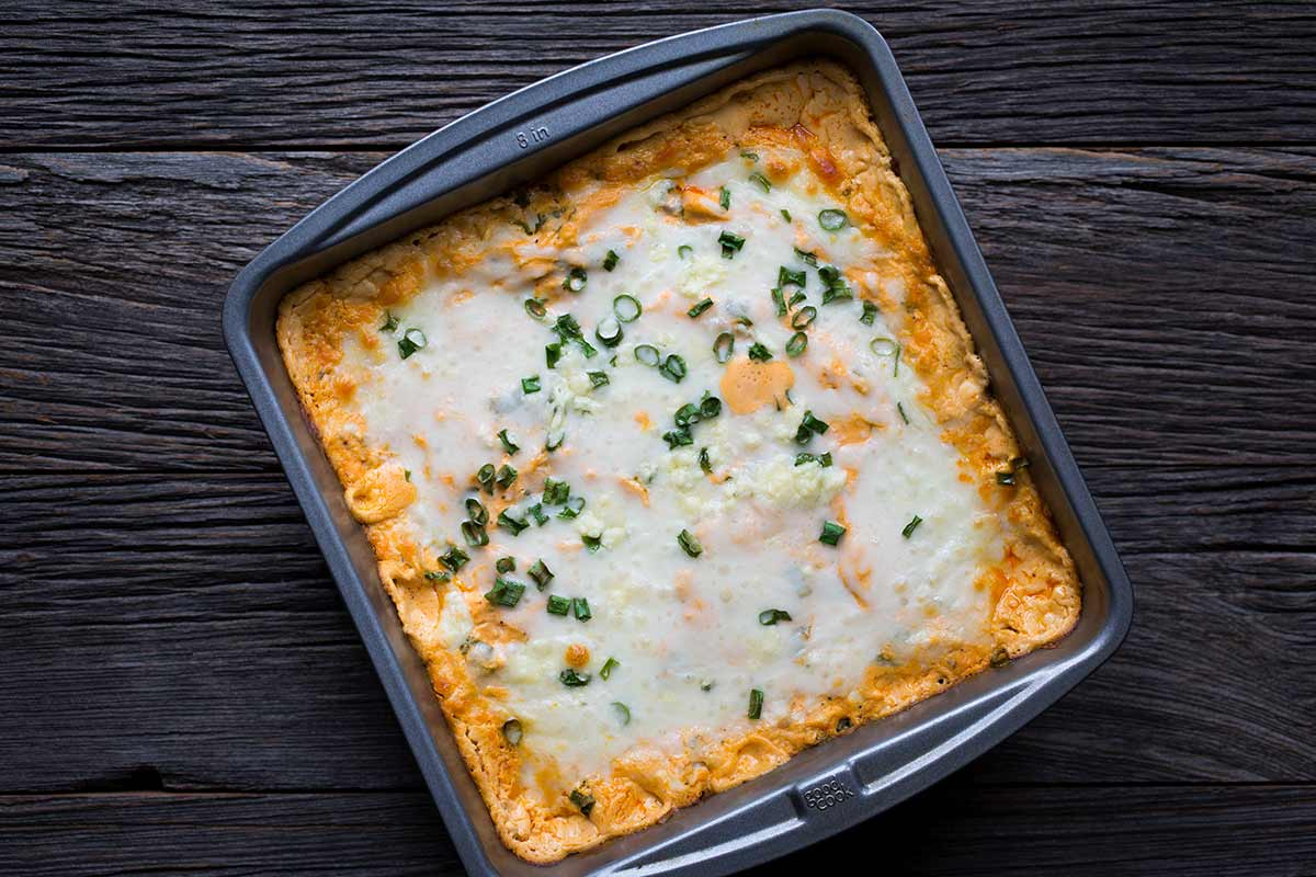 An overhead shot of Buffalo Chicken Dip, just out of the oven.