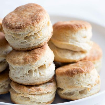 A closeup photo showing the finished biscuit recipe