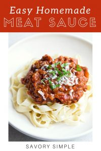 Homemade meat sauce with text overlay.