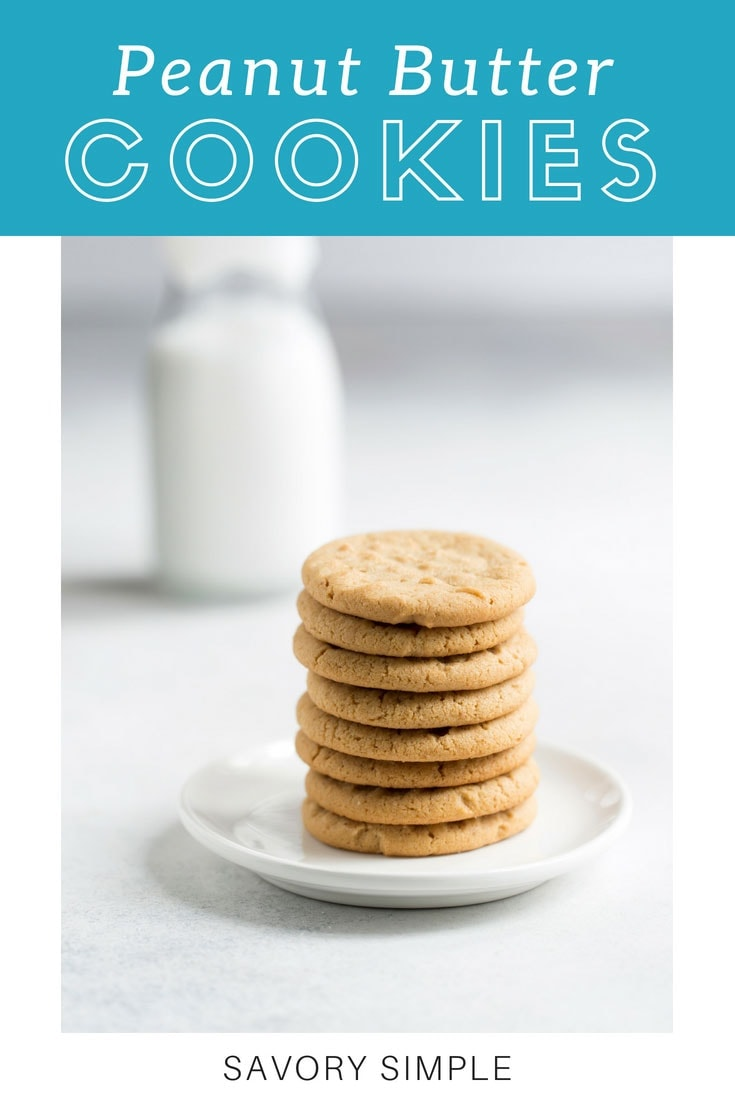 These peanut butter cookies are soft, soft, and full of flavor! The crisscross shape is easy to achieve and just lovely. If you don't consume peanut products, this peanut butter cookie recipe also works well with cashew or almond butter. If you've been wanting to learn how to make peanut butter cookies, look no further! #peanutbutter #cookies #cookierecipe #SavorySimple