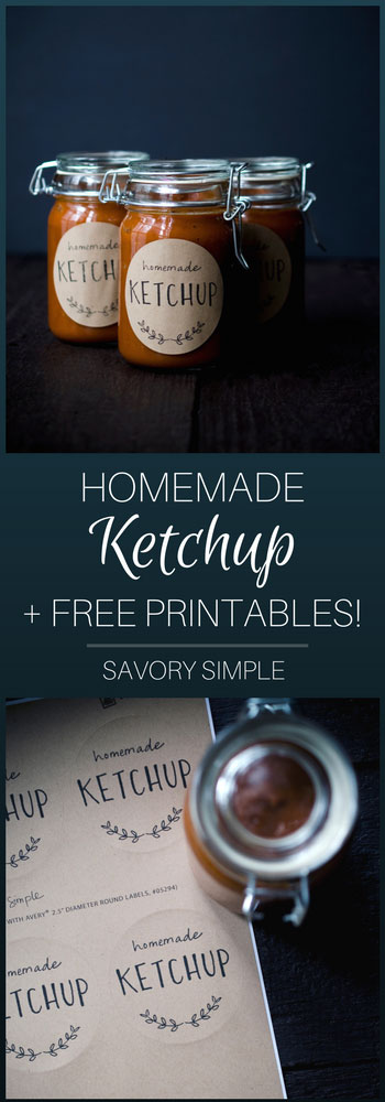 Homemade Ketchup with rhubarb is a perfect sauce to celebrate spring. The rhubarb adds a unique element and tangy sweetness without overpowering the tomato flavor. Also, don't miss the included free printable labels!