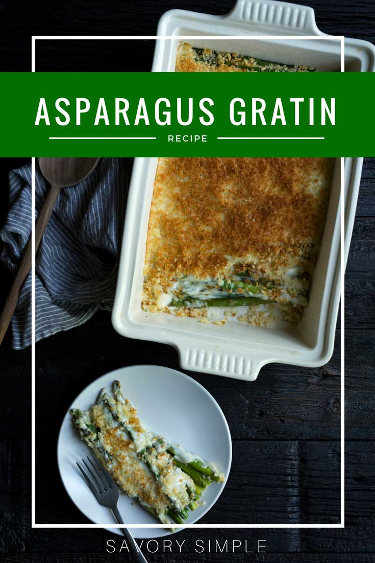 Asparagus gratin is a flavorful, seasonal side dish that highlights one of the best spring vegetables! It's cheesy and savory, with just the right amount of crunch from panko breadcrumbs. Gruyere cheese adds a rich nutty flavor. If you love potatoes au gratin, you'll love this lightened up asparagus gratin recipe.