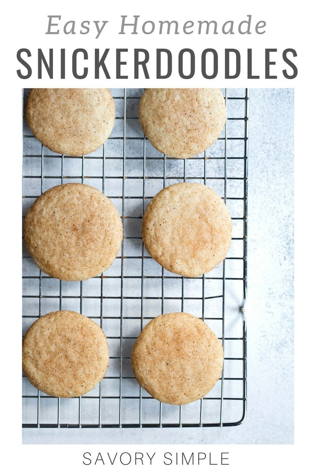 Buttery Snickerdoodle Cookies are an amazing dessert all year long! This snickerdoodle recipe has no shortening or cream of tartar, and can be made either soft or crunchy, depending on your preference. If you love snickerdoodles, you'll love this recipe! #snickerdoodles #cookies #cookierecipe #SavorySimple