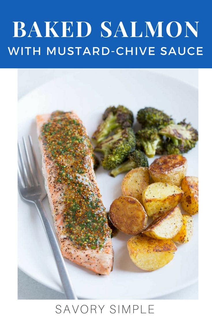 This Baked Salmon with Broccoli, Potatoes, and Mustard-Chive Sauce is a healthy, flavorful sheet pan dinner for any night of the week! #bakedsalmon #recipe #seafood #fish #sheetpan #dinner