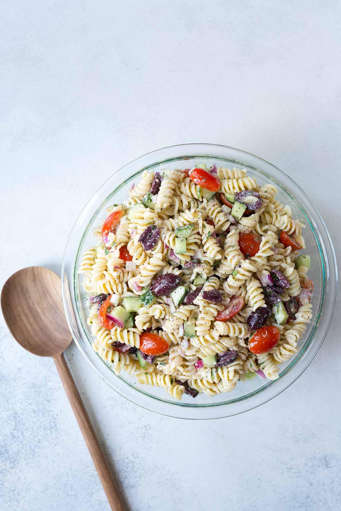 Greek pasta salad in a bowl.