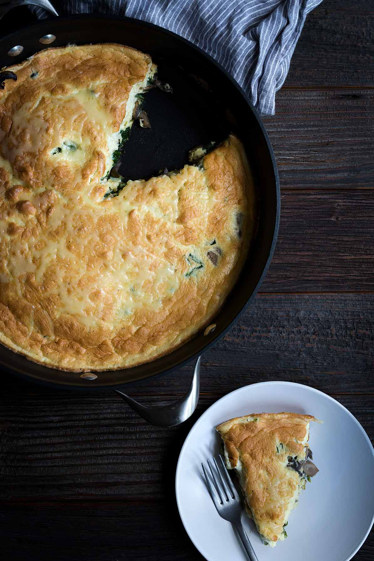 A slice of spinach frittata on a plate.