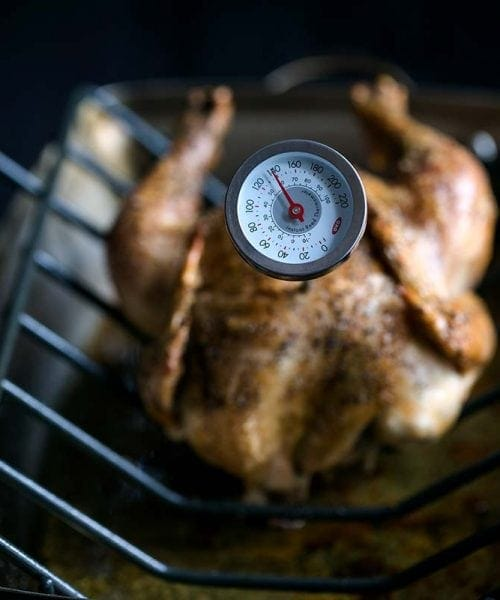 A roasting pan with a whole roasted chicken and a thermometer - showing incorrect chicken internal temperature