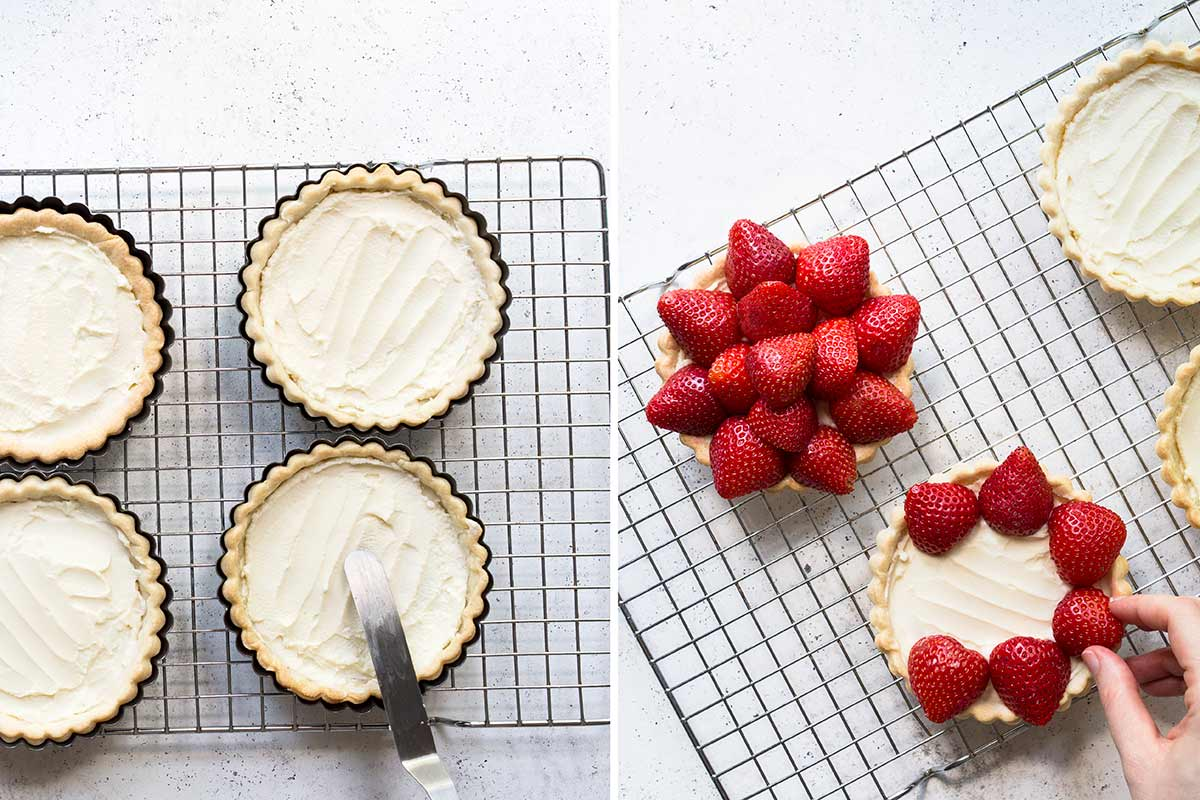 Two side-by-side process shots of making the strawberry tart recipe - on the left is a photo of spreading the filling inside the shell. On the right, a hand places the strawberries over the filling.