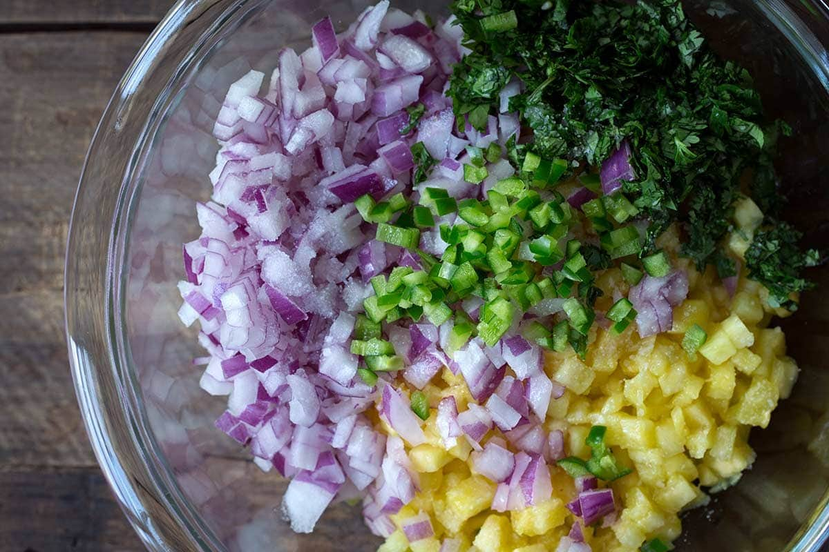 Ingredients for Pineapple Salsa in a bowl