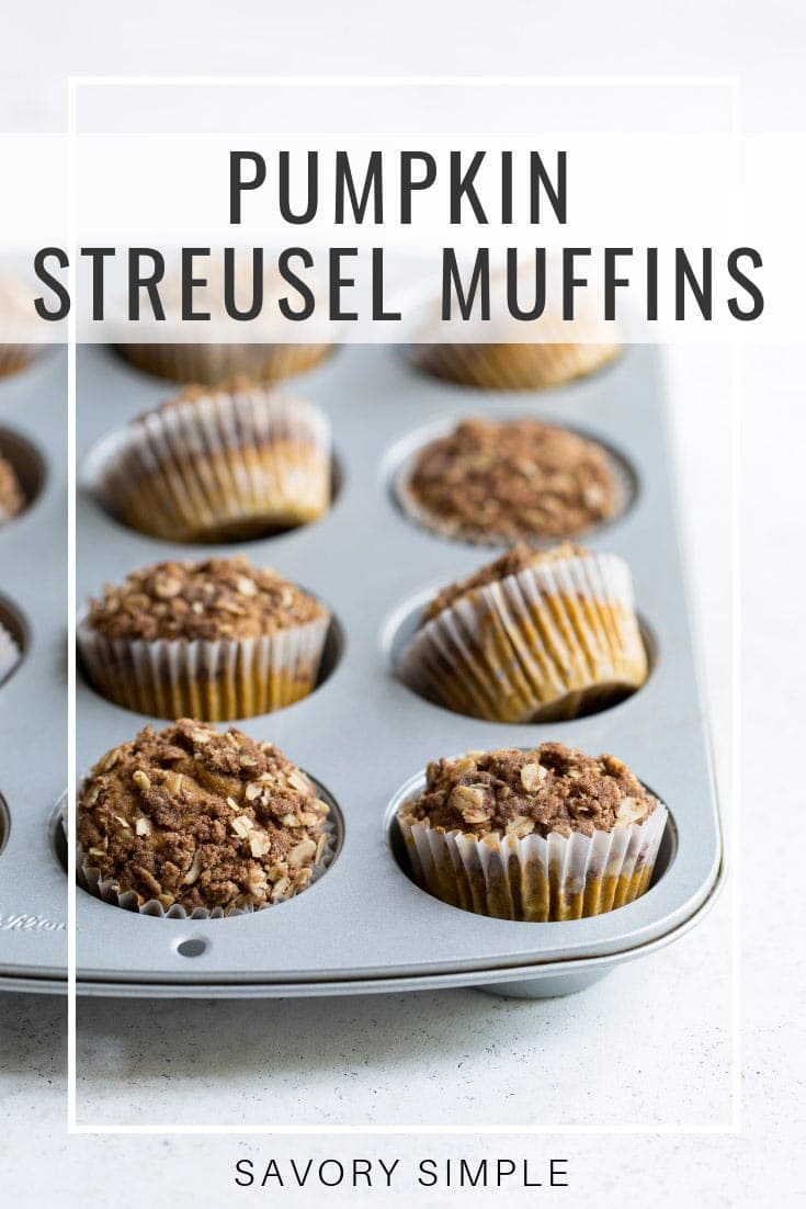 These soft, delicate pumpkin muffins have a crunchy streusel topping with just the right amount of sweetness and seasonal spices! #pumpkin #pumpkinmuffins #holidayrecipes #savorysimple