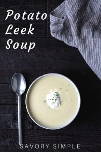 Potato Leek Soup in a bowl with text overlay