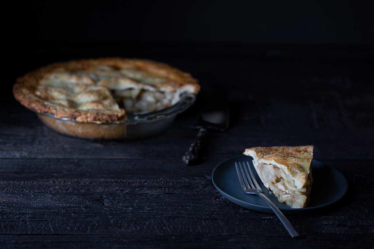 A slice of homemade apple pie.