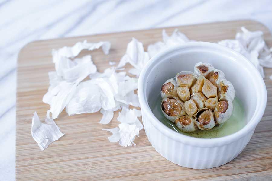 Roasted garlic in a ramekin