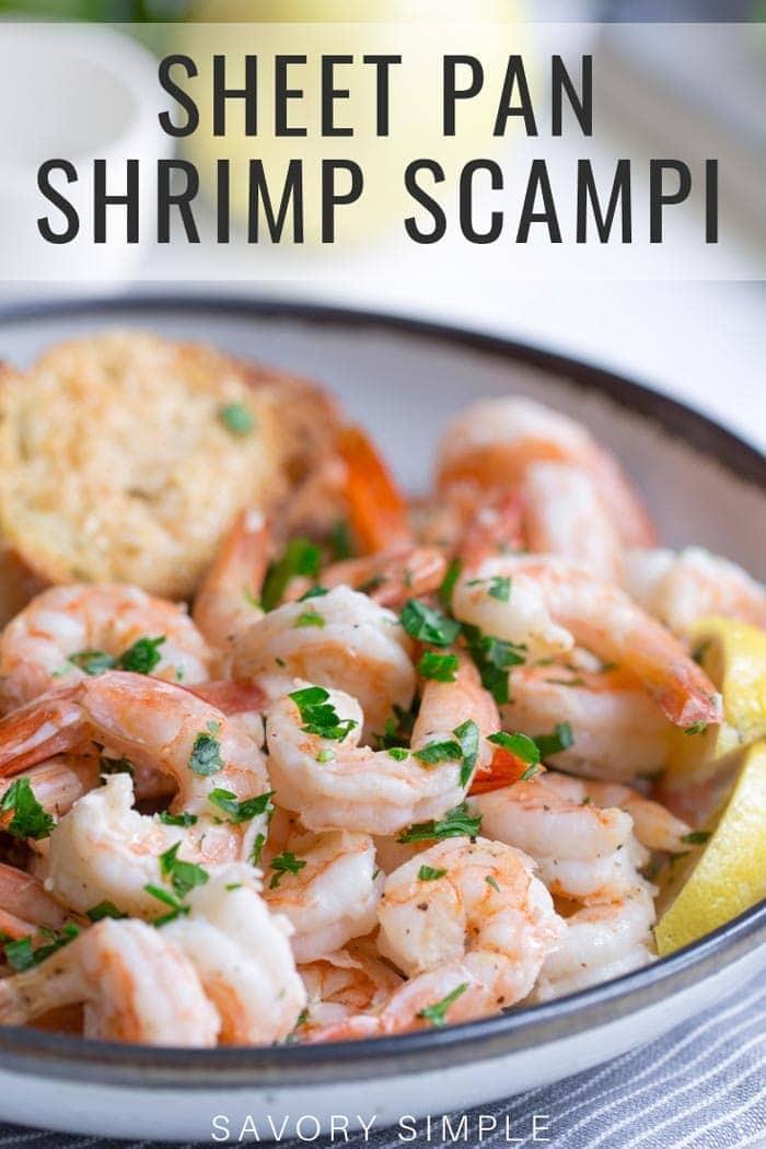 Sheet pan shrimp scampi with text overlay
