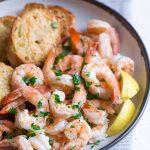 Close up of sheet pan shrimp boil