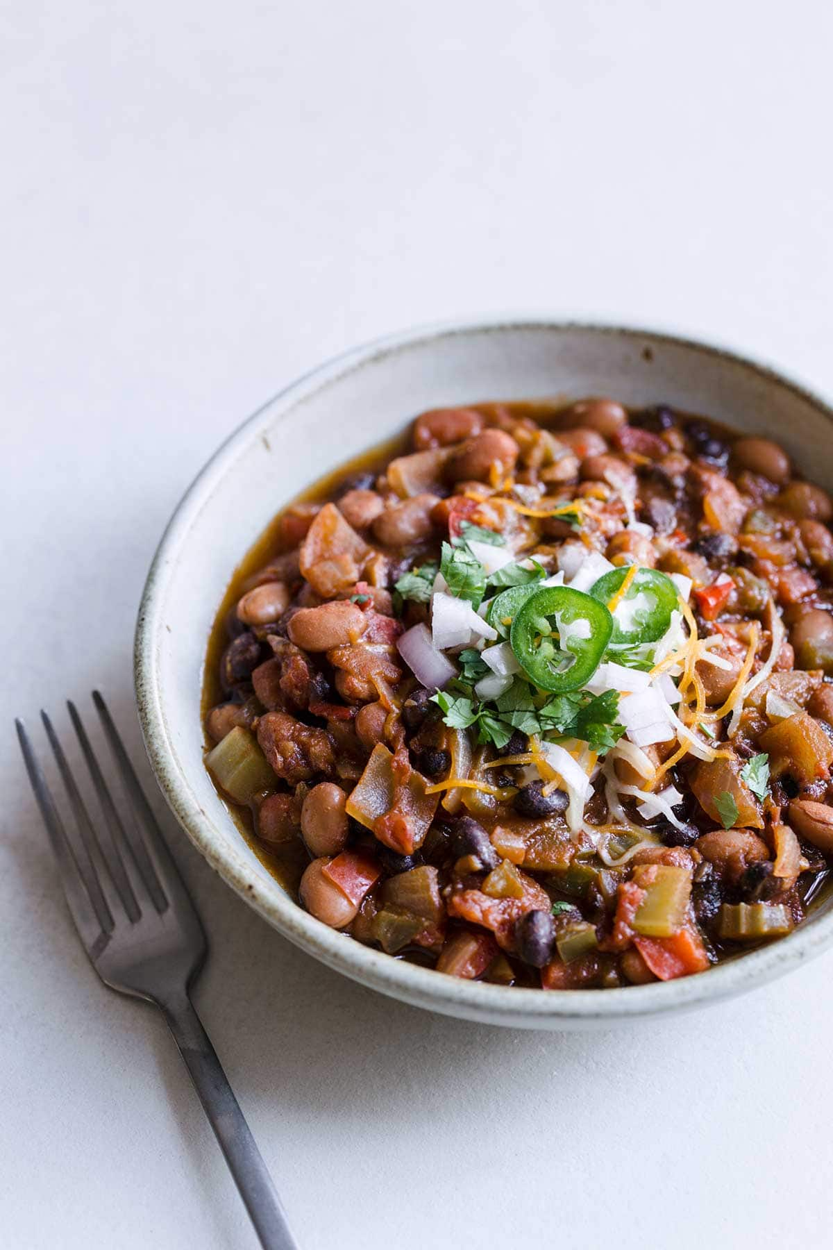 Closeup of vegan chili in a bowl