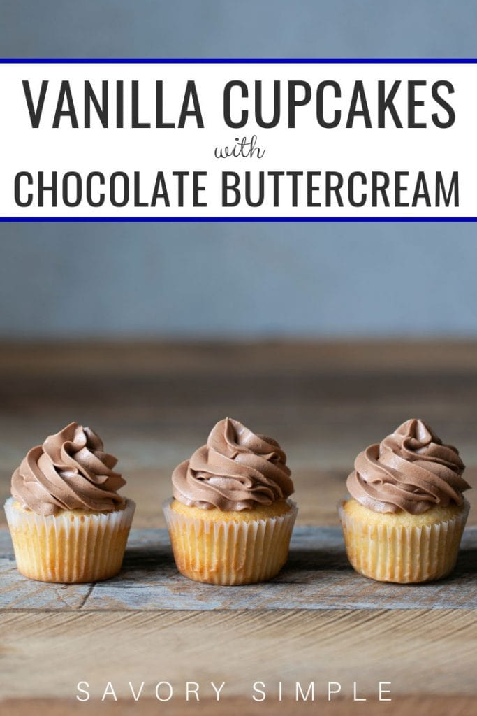 Vanilla cupcake recipe photo with text overlay